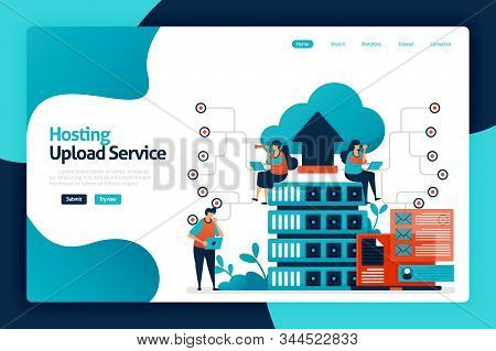 Hosting Upload Service Landing Page Design. Network Upload Database To Server Services, Cloud, Hosti