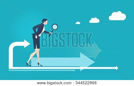 Business Woman Looking With Magnify Glass. Finding Solution, Solving Problems, Advisory And Support