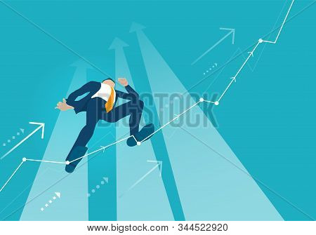 Businessman Makes Tight-walk Walking, Climbing Up On The Growth Chart, Arrow, Balancing As Symbol Of