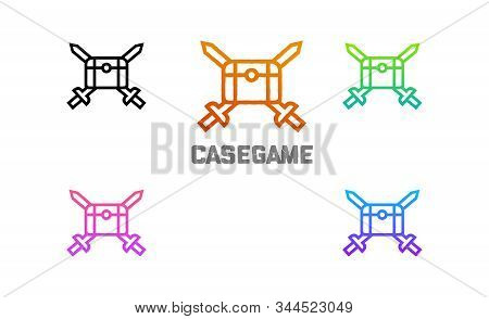 Chest Game Case Swords Vector Logo Heraldic, This Icon Could Be Used As Logo Too, Icon Itself Is Bea