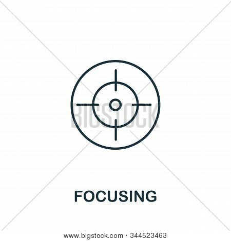Focusing Icon. Line Style Symbol From Productivity Icon Collection. Focusing Creative Element For Lo