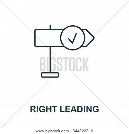 Right Leading Icon. Line Style Symbol From Productivity Icon Collection. Right Leading Creative Elem