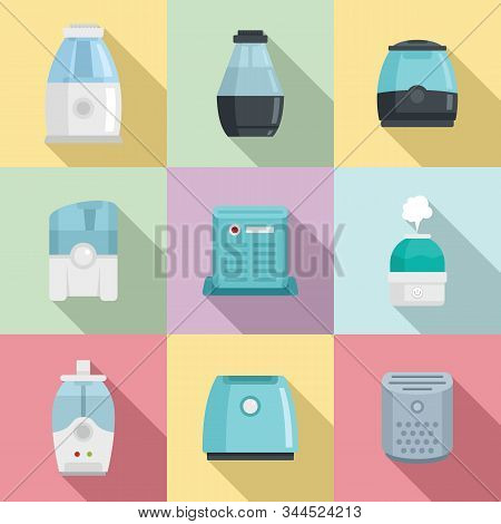 Air Purifier Icons Set. Flat Set Of Air Purifier Vector Icons For Web Design