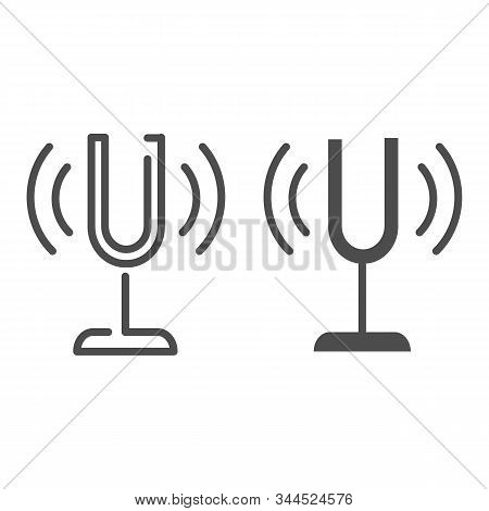 Tuning Fork Line And Glyph Icon. Sound Tuner Vector Illustration Isolated On White. Musical Equipmen