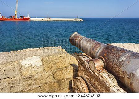 Old Cannon On The Bastione Santa Maria In Monopoli Apulia Italy