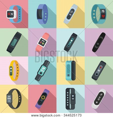 Fitness Bracelet Icons Set. Flat Set Of Fitness Bracelet Vector Icons For Web Design