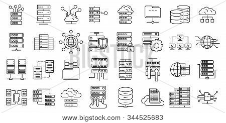 Data Center Icons Set. Outline Set Of Data Center Vector Icons For Web Design Isolated On White Back