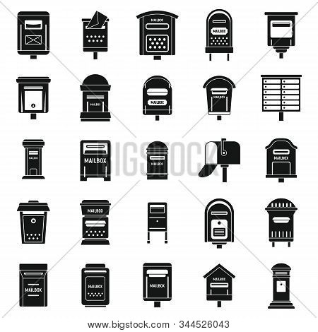Mailbox Postal Icons Set. Simple Set Of Mailbox Postal Vector Icons For Web Design On White Backgrou