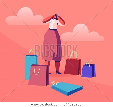 Young Woman Shopaholic Stand Surrounded With Many Colorful Shopping Bags Holding Head Frustrated Abo