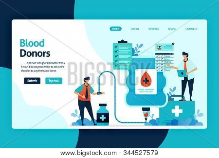 Vector Flat Illustration Template Of Blood Donation And Charity. June 14 In Blood Donor Day, Blood B
