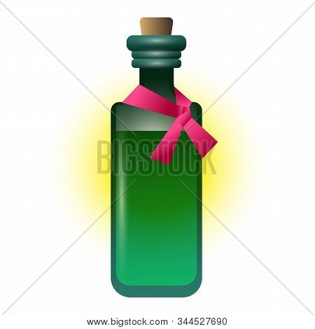 Green Bottle Potion Icon. Cartoon Of Green Bottle Potion Vector Icon For Web Design Isolated On Whit