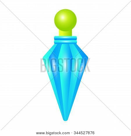 Blue Crystal Potion Icon. Cartoon Of Blue Crystal Potion Vector Icon For Web Design Isolated On Whit