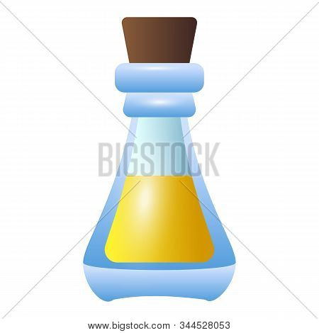 Yellow Bottle Potion Icon. Cartoon Of Yellow Bottle Potion Vector Icon For Web Design Isolated On Wh