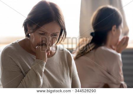 Sad Senior Mum Involved In Family Quarrel With Adult Daughter