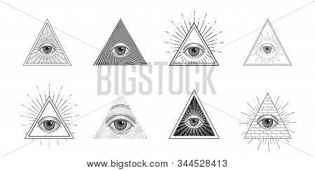 All Seeing Eye, Freemason Symbol In Triangle With Light Ray, Tattoo Design