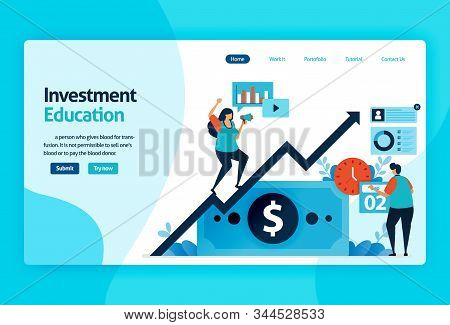 Landing Page Vector Design For Investment Education. Stock Market With Strategy, Analysis, Planning.