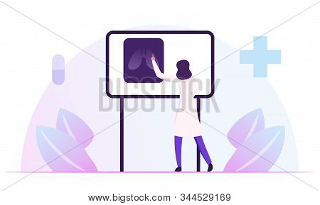 Pulmonology Specialist, Professional Doctor Stand At Laboratory Equipment Board With Image Of Lungs