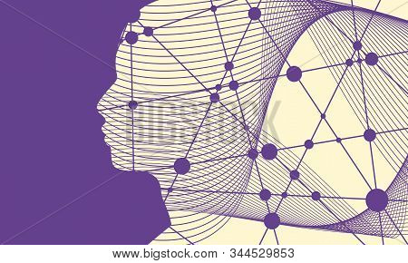 Face Profile View. Elegant Silhouette Of Male Head. Beautiful Man Futuristic Style Portrait. Thin Li