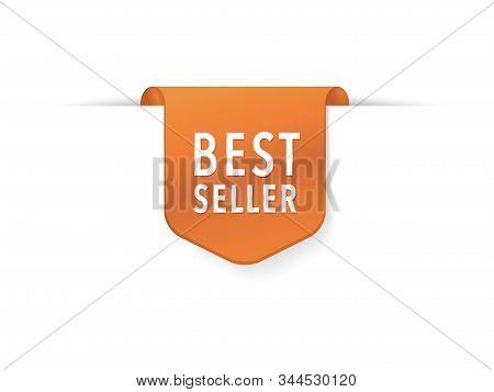 Best Seller Red Ribbon Isolated. Vector 3d Labels. Special Offer Sale Tag, Best Seller Label, Symbol