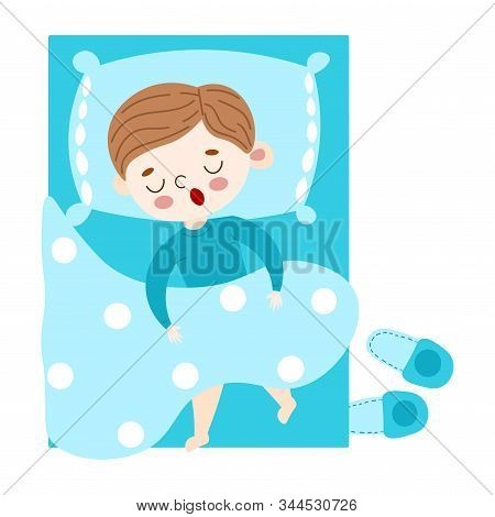 The Cute Brown-haired Little Boy Lovely Sleeping Under The Duvet In Blue Bed Top View. Vector Illust