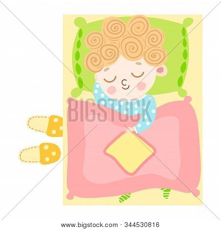 The Cute Light-haired Little Boy Lovely Sleeping Under The Duvet In Bed Top View. Vector Illustratio