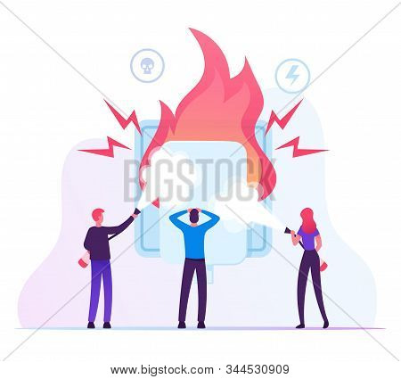 Electrical Safety Concept. People With Extinguishers Put Out Electric Wiring Of Socket On Fire. Plug