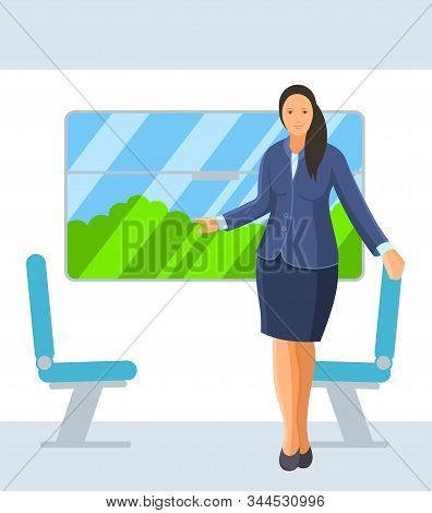 Young Woman Travels In Train Public Transport.