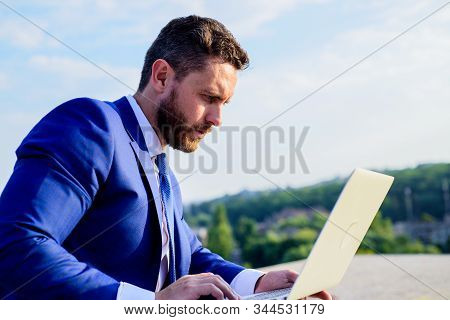 Social Media Marketing Expert Works Blue Sky Background. Businessman Surfing Internet Or Reply Email
