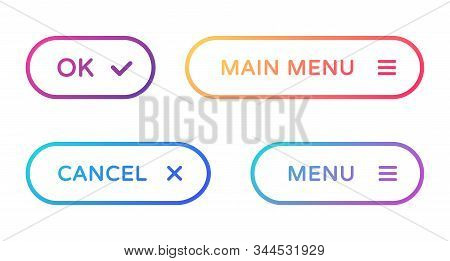 Menu Web Buttons Set. Outline Ui Web Buttons In Flat Style. Rounded Vector Buttons On Trendy Gradien