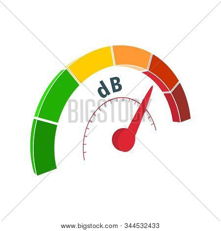 A Device For Measuring The Sound Intensity In Decibels. Infographic Gauge Element. Isometric Level S