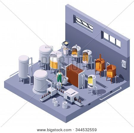 Vector Isometric Craft Beer Brewery Interior. Beer Brewing Process Infographic. Brewery Equipment An