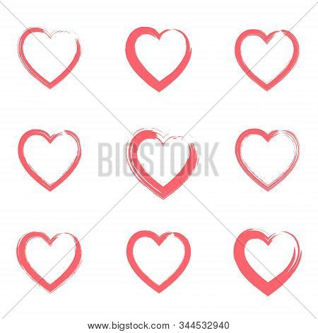 Collection Of Outline Grunge Brushes Red Textured Hearts Frames For Valentines Day Greeting Cards An