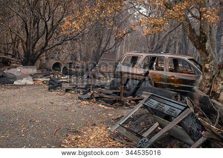 Australian Bushfire Aftermath: Burnt Car Carcass At Blue Mountains, Australia
