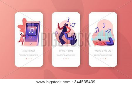Young Women Dancing On Disco Party And Listen Music Mobile App Page Onboard Screen Set. Girl Spend T