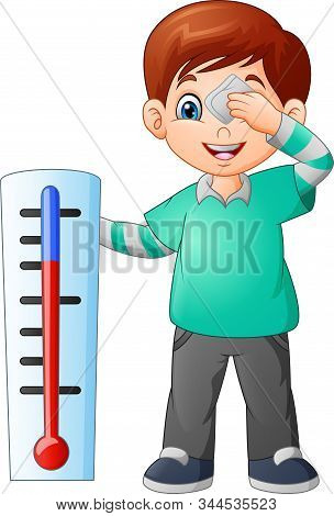 Cartoon Cute Little Boy With A Thermometer
