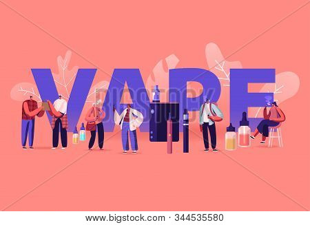 Vape Shop Business And Smoking Addiction Concept. Urban Hipster People Enjoying Vaping, Nicotine And
