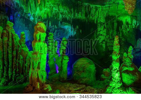 Prometheus Cave (also Kumistavi Cave) With Stalactites And Stalagmites On A Tourist Attraction Prome