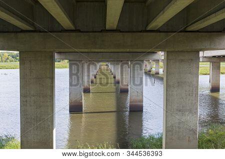 Under Highway 77 Bridge Deck Along Long Meadow Lake In Minnesota Valley National Wildlife Refuge Blo