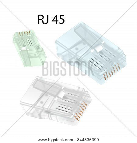 Close-up Set Rj-45 Connectors Isolated On White Background. Vector Illustration Eps 10.