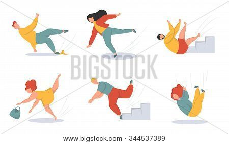 Falling People Flat Vector Illustrations Set. Men And Women Stumbling And Falling Down Stairs Charac