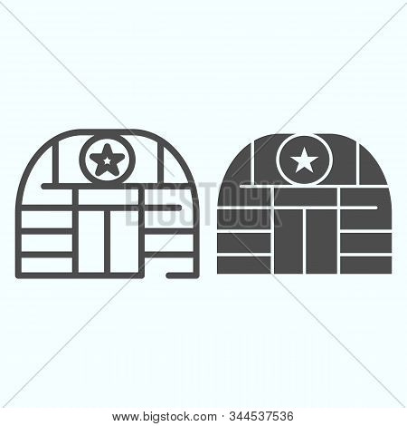 Military Base Line And Glyph Icon. Army Building Vector Illustration Isolated On White. Airbase Outl