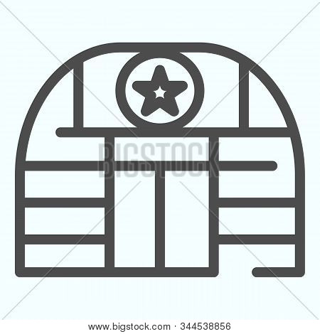 Military Base Line Icon. Army Building Vector Illustration Isolated On White. Airbase Outline Style