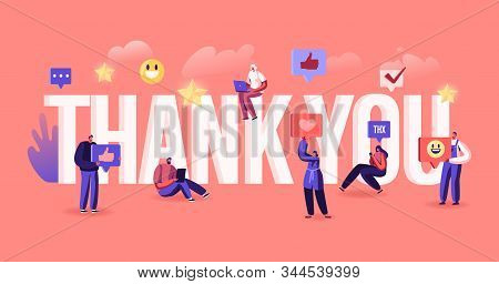 Thank You Concept. Grateful Blogger Or Media Person Give Thanks To Followers In Internet Social Netw