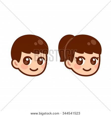 Cute Anime Boy And Girl Head, Children Face Set. Anime Style Cartoon Illustration. Character Gender