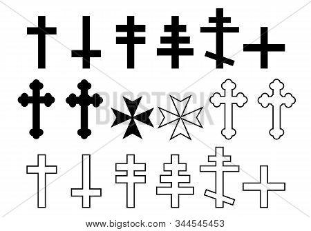 Set Of Black And White Illustration Of Christian Cross Orthodox Church, Lorraine, Maltese And Greek