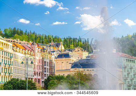 Hot Spring Geyser Vridlo At Karlovy Vary Carlsbad Historical City Centre, Colorful Beautiful Buildin