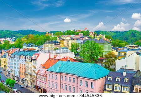 Karlovy Vary (carlsbad) Historical City Centre Aerial View With Tepla River Embankment, Colorful Bea