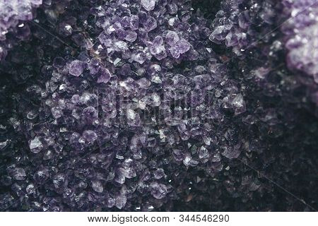 Close-up Or Macro Of A Lilac Or Violet Mineral Of Amethyst Druse