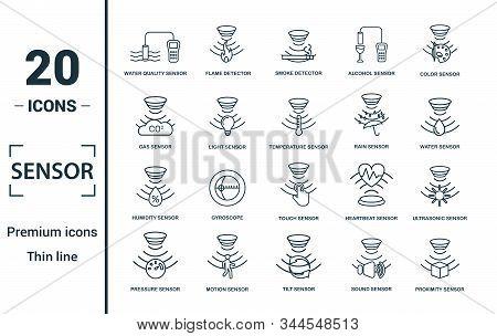 Sensor Icon Set. Include Creative Elements Water Quality Sensor, Smoke Detector, Gas, Rain Sensor, H