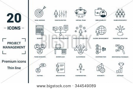 Project Management Icon Set. Include Creative Elements Goal Seeking, Virtual Team, Budget, Global Ma